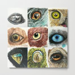 animal eyes collage Metal Print