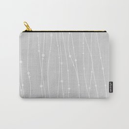 Grey Pattern With Lines And Dots Carry-All Pouch