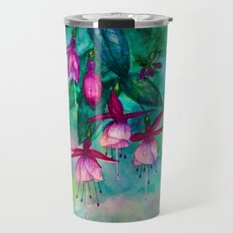 Watercolor fuschia flowers whimsical painting Travel Mug