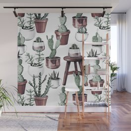 Happy Potted Cacti in Rose Gold Pots Wall Mural