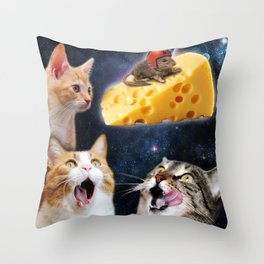 Cats and the mouse on the cheese Throw Pillow