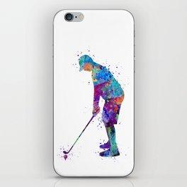 Boy Golf Player Beautiful Colorful Waterolor Art iPhone Skin