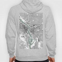 Portland, OR City Map Black/White Hoody