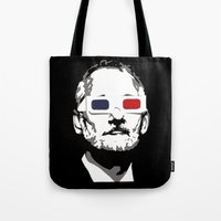 bill murray Tote Bags featuring Bill Murray 3D by Spyck