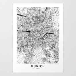 Munich White Map Art Print