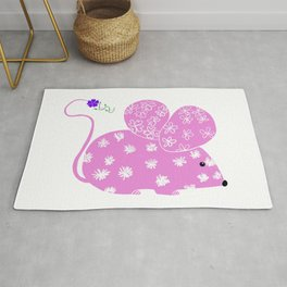 Miss Mousy Pinkie with Purple Petunia Rug