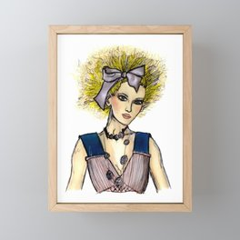 Girl with hair bow fashion illustration Framed Mini Art Print