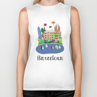 barcelona Biker Tanks featuring Barcelona  by uzualsunday