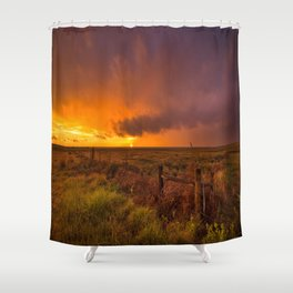 Sunset on the Plains - Sun Illuminates Sky After Stormy Day Shower Curtain