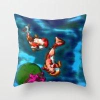 koi fish Throw Pillows featuring KOI FISH by aztosaha