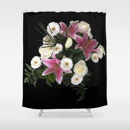 Bouquet on black Shower Curtain
