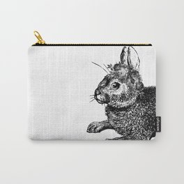 The Rabbit and Roses | Black and White Carry-All Pouch
