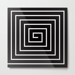 Black White Spiral Metal Print