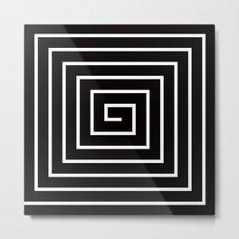 Black White Spiral Metal Print
