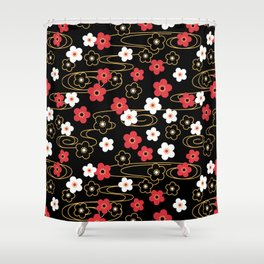 Black Sakura Kimono Pattern Shower Curtain