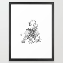On the Run (Black and White Drawing) Framed Art Print