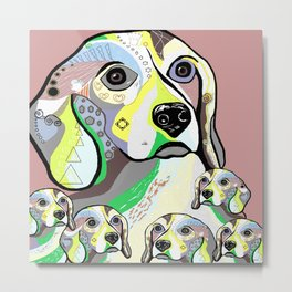 Beagle and Babies Soft Color Palette Metal Print