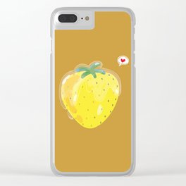 glazed yellow strawberry Clear iPhone Case