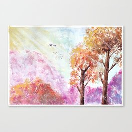 Magical Landscape Watercolor Painting Canvas Print