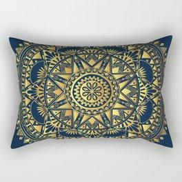 Blue & Gold Boho Pattern Rectangular Pillow