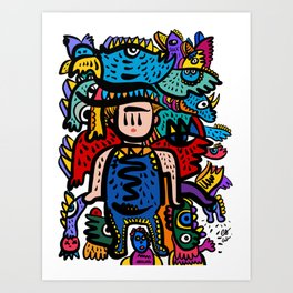Aztec Kid with is Happy Graffiti Art Creatures by Emmanuel Signorino Art Print