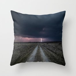 Darkness Falls - Lightning Strikes Down a Country Road at Night Throw Pillow