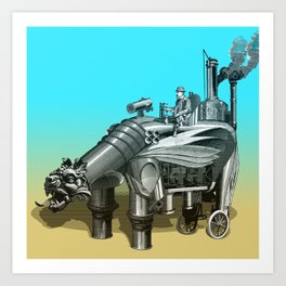 Steam Rider (surreal vintage fantasy) Art Print