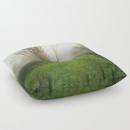 Beautiful Morning - Autumn Field in Fog Floor Pillow