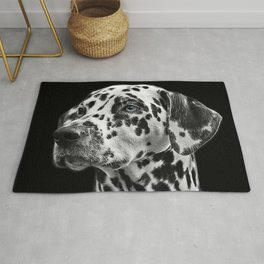 Dalmatian with One Blue Eye Portrait Photograph Rug