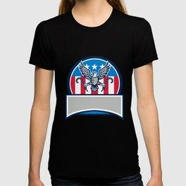 American Eagle Clutching Towing J Hook Circle Retro T-shirt