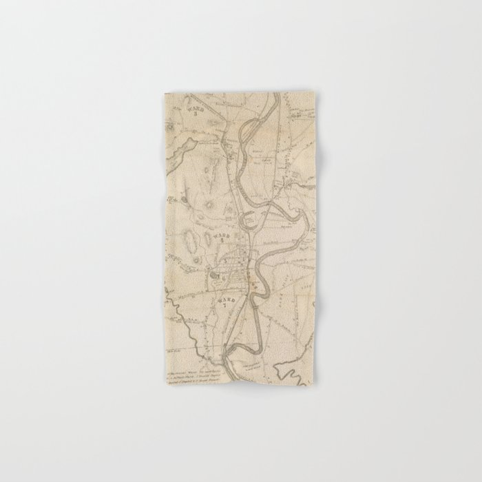 Vintage Map of Concord NH (1855) Hand & Bath Towel