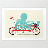 bike Art Prints featuring My Red Bike by Jay Fleck