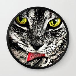 Grooming Tabby Cat Wall Clock
