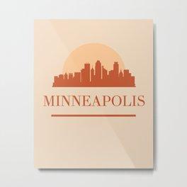 MINNEAPOLIS MINNESOTA CITY SKYLINE EARTH TONES Metal Print