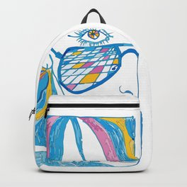 Abstract portrait of a girl with blue glasses, yellow eyes and color hair Backpack