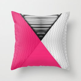 Black White and Bright Pink Throw Pillow