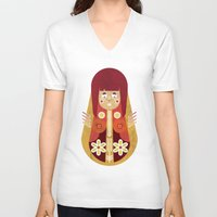 doll V-neck T-shirts featuring Doll by Roxie Emm