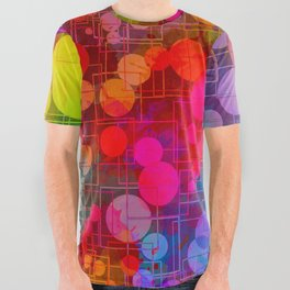 Rainbow Bubbles Abstract Design All Over Graphic Tee