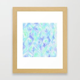 Preppy Blue Watercolor Abstract Ripples Framed Art Print