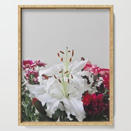 Floral Lilies Daisies Serving Tray