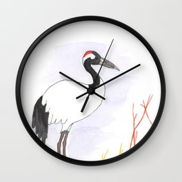 Red Crown Crane Wall Clock