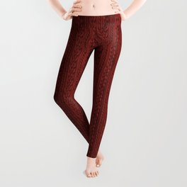 Cardinal Red Cable Knit Leggings
