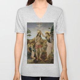 """Andrea del Verrocchio andd Leonardo da Vinci """"Baptism of Christ"""" Unisex V-Neck"""