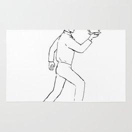 Retro Waiter Running Serving Coffee Drawing Rug