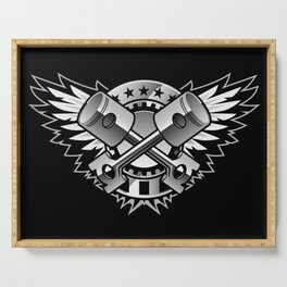 Crossed Pistons and Wings with Stars and Stripes Logo for the Car and Motorcycle Enthusiast Serving Tray
