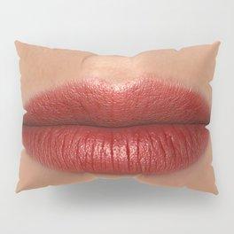 Lipstick Red Female Lips Close up Pillow Sham