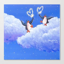 penguins spread love with sparklers Canvas Print