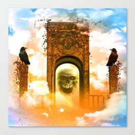 Skull and crows Canvas Print