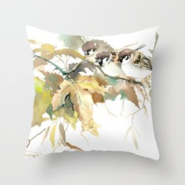 Sparrows and Fall Tree, three birds, brown green fall colors Throw Pillow
