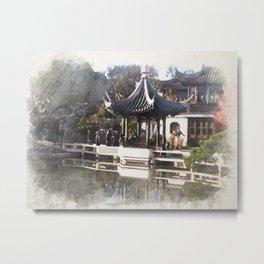 Chinese Garden, Portland, Oregon, Digital Watercolor Metal Print